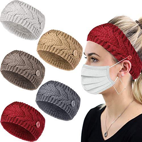 Dee Banna® - Fascia per capelli lavorata a maglia, a maglia, con bottoni annodati all'uncinetto, fascia elastica intrecciata, per donne per il lavaggio del viso, allenamento, palestra, yoga, corsa