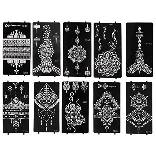 Lurrose 10 fogli di stencil per tatuaggi all'henné, riutilizzabili, motivo mandala, decorazione floreale, per il viso, corpo, per adulti, donne e ragazze