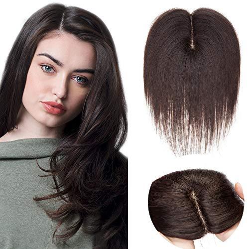 SEGO Lace Hair Topper Donna Clip Capelli Veri Toupee Extension Toupet Remy Human Hair Indiani Effetto Invisibile 40cm 50g (Base 10cm*12cm con Silk Top) - #2 Marrone Scuro