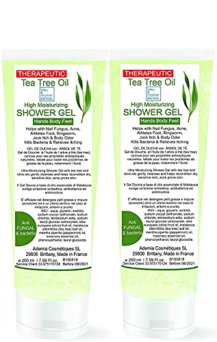 Gel disinfettante antibatterico GEL DOCCIA con Tea Tree Olio (albero del tè) Pack 2x200ml - Azione antimicotica-antibatterica
