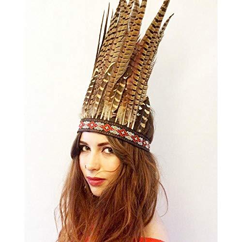 Accessori per capelli Copricapo stile etnico gioielli lunga piuma accessori per capelli esagerati copricapo performance sul palco-sezione lunga
