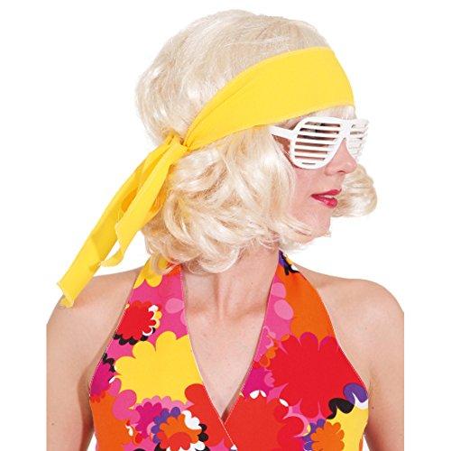Amakando Fascia per capelli anni '70, anni '60, con motivo floreale, colore giallo