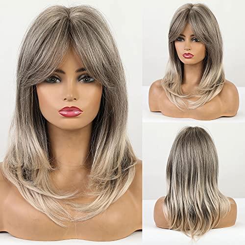 HAIRCUBE Parrucche ombre Parrucche sintetiche lunghe fino alle spalle per donne con frangia Parrucche per capelli grigio-marroni per donne Ragazze
