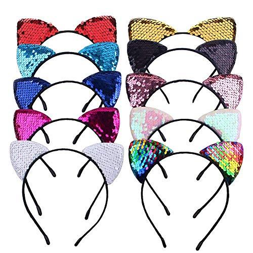 Cat Orecchio Fascia,lucido Carino Paillettes Fascia 10 Pezzi Glitter Donna Accessori per Capelli per La Vita Quotidiana Party Cosplay