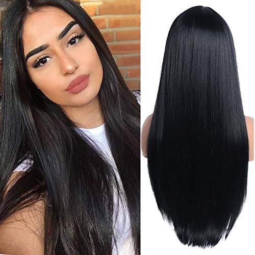 YEESHEDO Parrucca nera lunga diritto per donne, moda naturale lungo liscia capelli parte centrale sintetica parrucche black wig 26 pollici (nera)