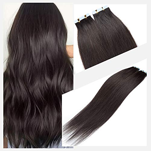 Elailite Extension Biadesivo Capelli Veri Adesive 40 Ciocche 120g Tape Remy Human Hair Biadesivi Capelli Naturali Umani 40cm #1B Nero Naturale