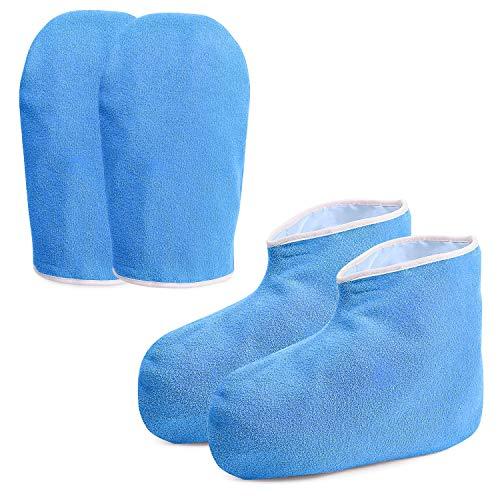 Noverlife Guanti e stivaletti da lavoro in cera di paraffina, guanti da bagno in cera per il trattamento delle mani, per la cura del piede, per la cura del piede, in morbido cotone