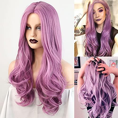 HAIRCUBE Parrucche Ondulate Lunghe Parrucche di Colore Viola Rosa per le Donne Parrucca Sintetica per Capelli da Festa