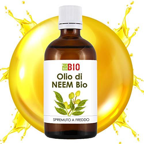 Olio Neem Bio 100% Puro Spremuto a freddo - Anti-parassitario naturale e Cosmetico per la pelle - 100 ml LaborBio