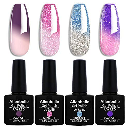 Allenbelle Smalto Semipermanente Camaleonte Nail Polish UV LED Gel Unghie (Kit di 4 pcs 7.3ML/pc) 016