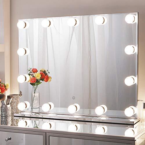 Chende Hollywood - Specchio da Trucco con Illuminazione, Grande per Montaggio a Parete, con 3 cambiamenti di Colore per Tavolo da toeletta (80 x 60 cm)