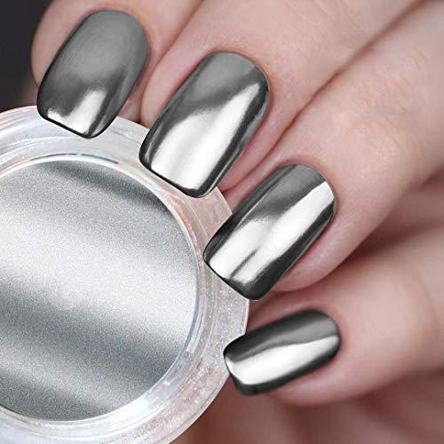 USHION Polvere Effetto Specchio Nail Art, Chrome Effect Powder Rose Gold,Unghie Brillare Polveri Cromato Argento Pigmento Chrome Effetto Specchio