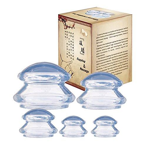 Coppettazione Silicone Cupping Set,4 PZ Silicone Massaggio Coppettazione Coppe Massaggiatore Anti Cellulite Vuoto Coppe (2)