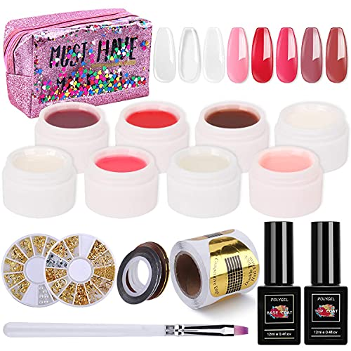 UV Gel per unghie, 8 colori UV Fibreglass Gel per estensione unghie, Gel UV rinforzante per unghie, Set di gel potenzianti con Base Top Coat, Forme per unghie e Set manicure per nail art con pennello