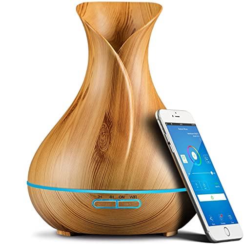 400ml Diffusore di Oli Essenziali Smart Wifi, Diffusore di Aromi, Funziona con Alexa e Google Home, App del Telefono e Controllo Vocale, Crea Programmi, 7 LED a Colori, Impostazioni Timer,Wood grain