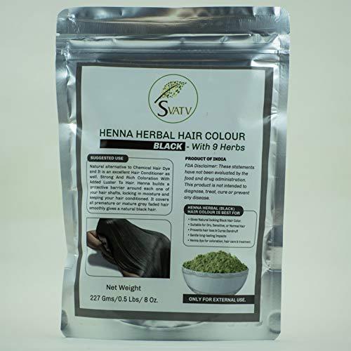 SVATV - Colore per capelli all'henné NERO con 9 erbe II Mehndi per capelli, Colore naturale per capelli II 227 g, 0,5 libbre, 08 once