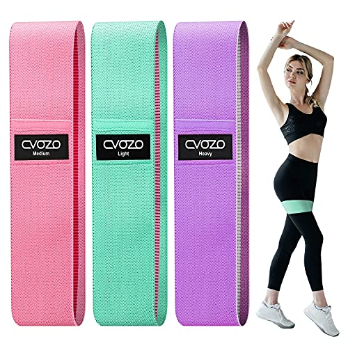 CVOZO Elastici Fitness (3 Pezzi), Bande Elastiche di Resistenza Set di 3 Colorate Fasce Elastiche Fitness in Tessuto con 3 Livelli di Resistenza,per Esercizi Glutei, Yoga, Pilates, Palestra