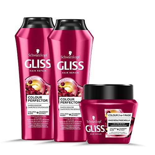 Schwarzkopf Gliss, Linea Colour Perfector, Confezione con 2 Shampoo e Maschera 2in1, Riparazione Intensa per Capelli Danneggiati, Protezione Colore Capelli Colorati, Confezione da 3 Pezzi