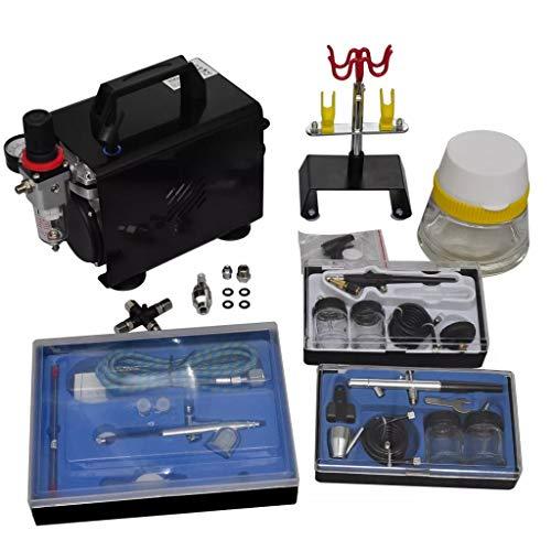 Tidyard Set Compressore Aerografo con 3 Pistole per Aerografo,Abbronzatura a Spray,Modellazione,Trucco,Tatuaggi,Magliette,Nail Art,Disegno su Casco per Bici