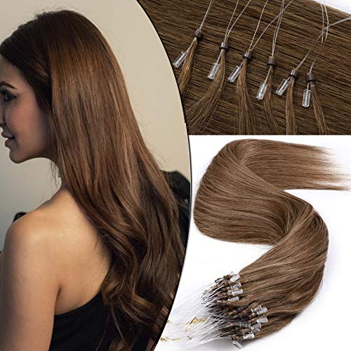 SEGO Extension Capelli Veri Anelli 50g #6 Marrone Chiaro - 100 Ciocche 100% Remy Human Hair Extensions Microring Anellini senza Clip 50cm
