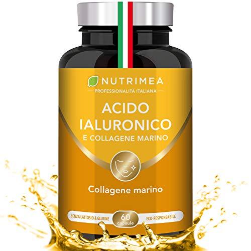 Acido Ialuronico Puro & Collagene Marino | Contro L'Invecchiamento | Vitamine A e C | Rigenera la Pelle | Integratore Alimentare | Capsule | 100% Naturale