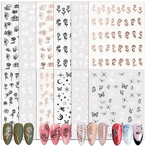 FLOFIA 12 Fogli Adesivi Unghie Nail Stickers Misti 3D Autoadesivi Unghie Fiori Rosa Farfalla Luna Stella Floreali per Decorazione Unghie Nail Art Adesivi Bianchi Neri Fai da Te