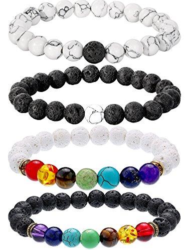 Bememo 4 Pezzi Braccialetti di Pietra Lava 7 Colori Perle di Chakra, Bracciali per Aromaterapia Braccialetto per Oli Essenziali (Stile Set 3)