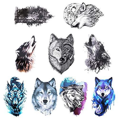 Gwolf 9 fogli Lupo tatuaggio temporaneo, personalità adesivi tatuaggio lupo Nuova protezione ambientale Adesivi tatuaggio braccio fiore impermeabile Realistico 3D carta modello animale tatuaggio