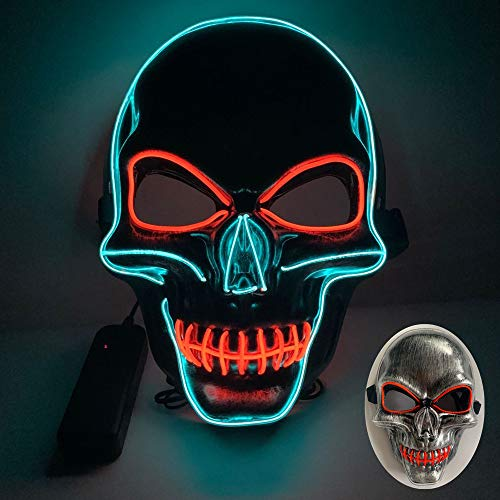 Uoging Maschera Halloween Horror, LED Maschera Neon Viso 3 modalità Luminosa, Maschera da Purge Halloween Decorazioni Horror Costumi di Carnevale per Adulti Cosplay (Rosso+Blu)