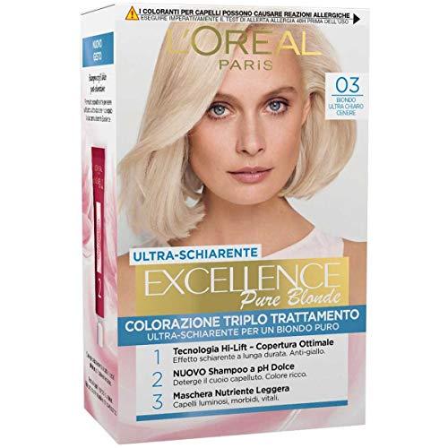 L'Oréal Paris Tinta Capelli Excellence, Copre i Capelli Bianchi, Colore Ricco, Luminoso e a Lunga Durata, 03 Biondo Ultra Chiaro Cenere, Confezione da 1
