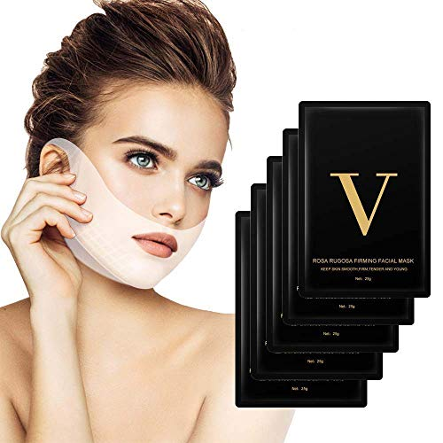 5 PCS Maschera a forma di V Maschera a facciale, MS.DEAR Maschera a linee V- Mantieni la pelle liscia, tonica, tenera e giovane - Riduce il doppio mento e ottieni una faccia a forma di V