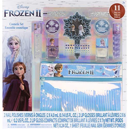 Disney Frozen - Townley Girl Set trucco lavabile con 11 pezzi, inclusi lucidalabbra, smalto per unghie, specchio, adesivi per gemme e borsa con frange olografiche, dai 3 anni in su