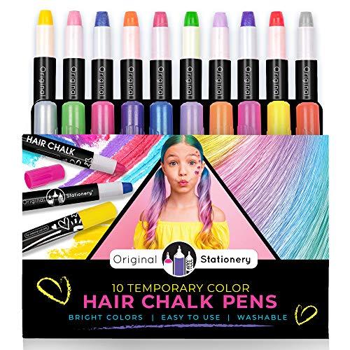 Original Stationery 10 Gessi capelli colorati - Gessetti per capelli Colori temporanei per il capelli dei bambini Gesso Trucco capelli bambini - idee regalo ragazza natale de 3 a 12 anni