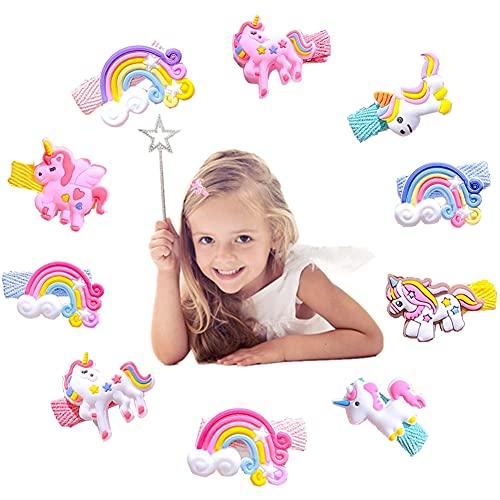 10Pz Fermagli per Capelli Bambina Unicorno Clip per Capelli per Bambino,Fumetto Mollette per Capelli Cartone Animato Animale Carino Fermagli per Capelli in Metallo Piccola per Bambina Bambini Colorati