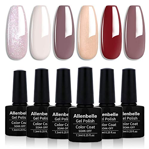 Allenbelle Smalto Semipermanente Smalti Semipermanenti Per Unghie Nail Polish UV LED Gel Unghie(Kit di 6 pcs 7.3ML/pc) 003