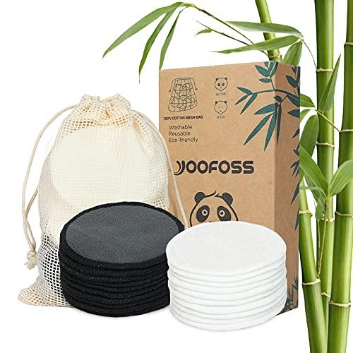 Yoofoss Dischetti Struccanti Lavabili Bambù 20 Struccanti Riutilizzabili Salviette Struccante Panno Microfibra per Pulizia Viso Make up Panni