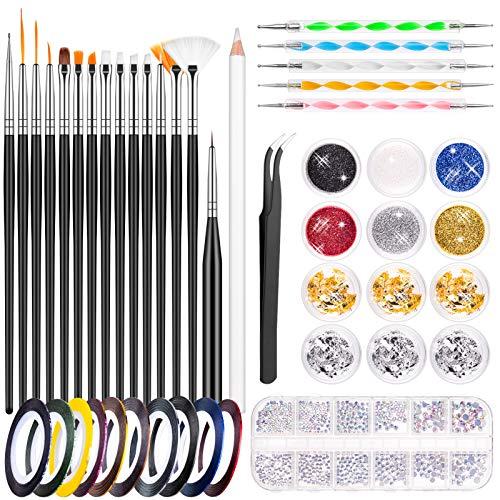 MELLIEX 45 Pezzi Kit per Nail Art, Strumenti per Nail Art con 15 Pennelli per Unghie, Pennarello per Unghie, Glitter per Unghie, Lamina per Unghie, Nastri per Unghie, Strass, Pinzette per Nail Design
