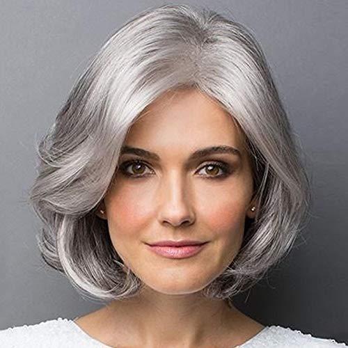 Parrucca corta grigia naturale, parrucca riccia regolabile con intranet confortevole per l'uso quotidiano Compatibile per donne anziane