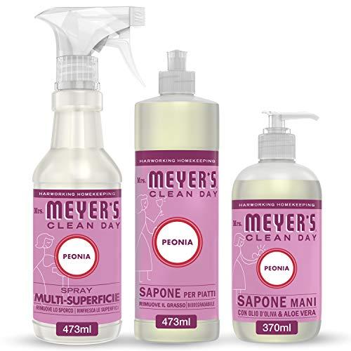 Mrs Meyer's Clean Day - 1 Detersivo Piatti + 1 Spray Multisuperficie + 1 Sapone Mani - Fragranza Peonia - Prodotti creati con Oli essenziali - 2 x 473 ml + 1 x 370 ml - Set Cucina