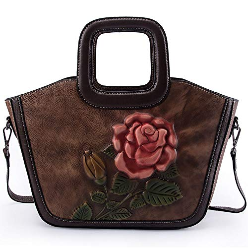 RJJ Pelle Rosa Stile Europeo American Woman Bag Una Spalla Croce Retro Borsa 27 * 22 * ​​11cm (Colore : Brown)