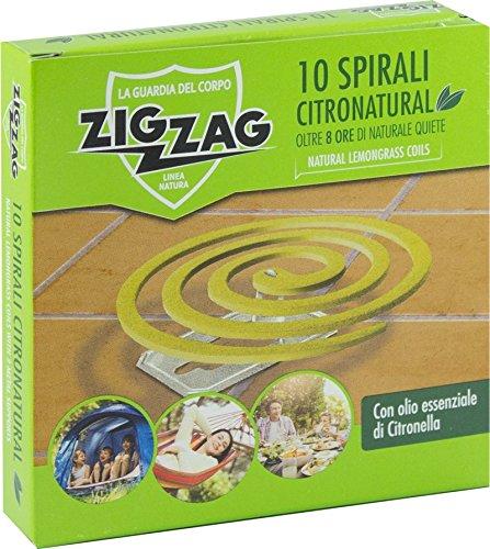 Zig Zag, Spirali Citronatural, Naturali senza insetticida per esterno, durata 8 ore, all'olio essenziale di citronella, confezione da 10 spirali