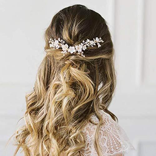 Edary - Cerchietto per capelli da sposa con fiore in argento, con perline, accessorio per capelli da sposa per donne e ragazze