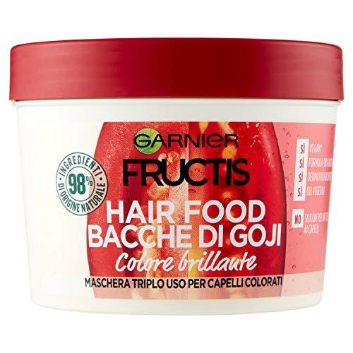 Garnier Maschera Color Resist Fructis Hair Food, Maschera nutriente 3in1 con formula vegana per capelli colorati, Bacche di Goji, 390 ml