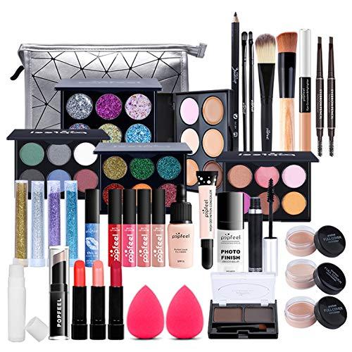 Set di Trucchi per Principianti, Kit per Makeup Professionale da 37 Pezzi, Organizer per Trucco da Viaggio Portatile, Completo Kit per Cosmetici -con Ombretti, Correttore, Rossetto. Ecc