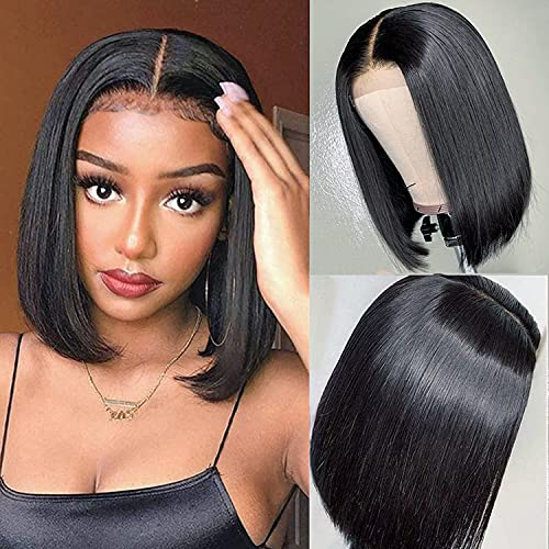 PORSMEER Parrucche lace front parrucche donna lisci Bob lace front wigs Nera Corta hair 10 inch Colore naturale