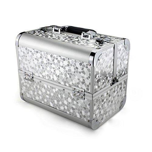 Glow alla moda, pratico, di alta qualità Caso Trucco Beauty Case Beauty Case da viaggio Organizer per cosmetici; Silver