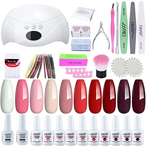 Elite99 Smalto Semipermanente per unghie Kit di Partenza in 10 coloris Gel 48 W LED Lampada UV Nail Dryer Soak Off Topcoat Basecoat Nail Art Tool Set di Adesivi per Manicure Set per Manicure 8ML