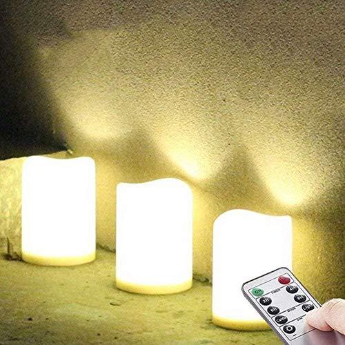 NONNO&ZGF Candele Impermeabili da Esterno a LED da 3 Pezzi, Candela in plastica alimentata a Batteria con Telecomando/Funzione Timer (Luce Bianca Calda) - 8 cm x 10 cm