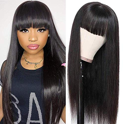 BLISSHAIR straight human hair wigs with bangs for black women brazilian 9A none lace front capelli veri Guleless machine weft wigs Parrucca Donna Capelli Veri Colore naturale 14'