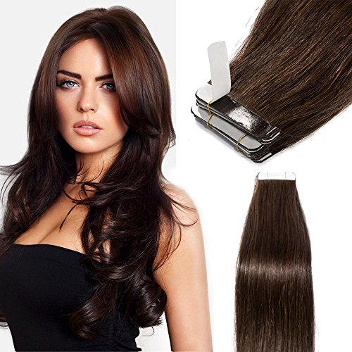 Elailite Extension Adesive Capelli Veri Biadesivo 40 Fasce Biadesive 100g Remy Human Hair Tape Extensions Capelli Lisci 40cm #Marrone Scuro